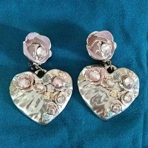Large dangle heart earrings